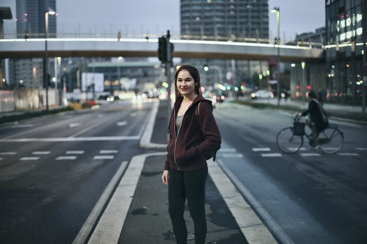 Free stock photo of city, woman, night, street