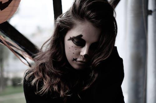 Free stock photo of art makeup, beautiful girl, black mask