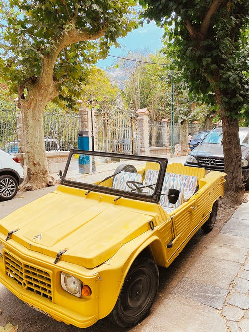 Yellow Chevrolet Convertible Parked Near Tree
