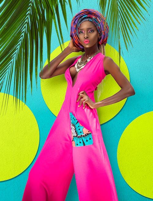 Woman in Pink Sleeveless Dress