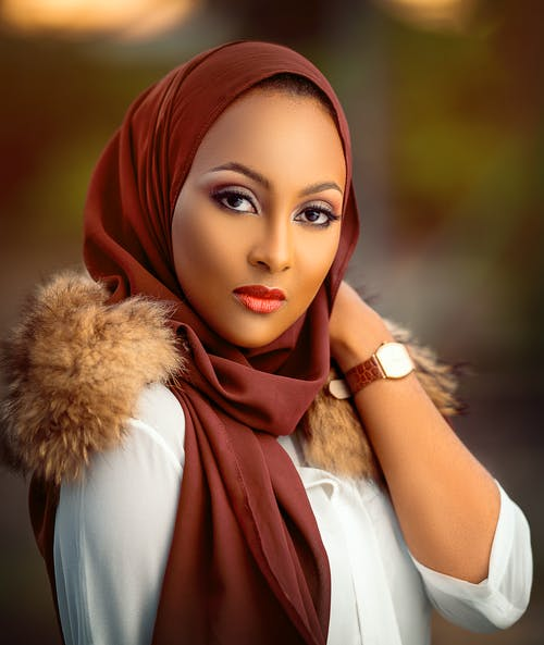 Woman in Red Hijab and White Long Sleeve Shirt