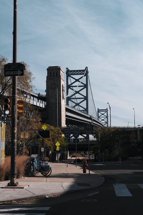 People Walking on Sidewalk Near Bridge