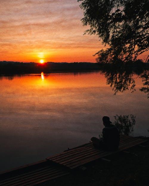 analog, göl, gün batımı içeren Ücretsiz stok fotoğraf