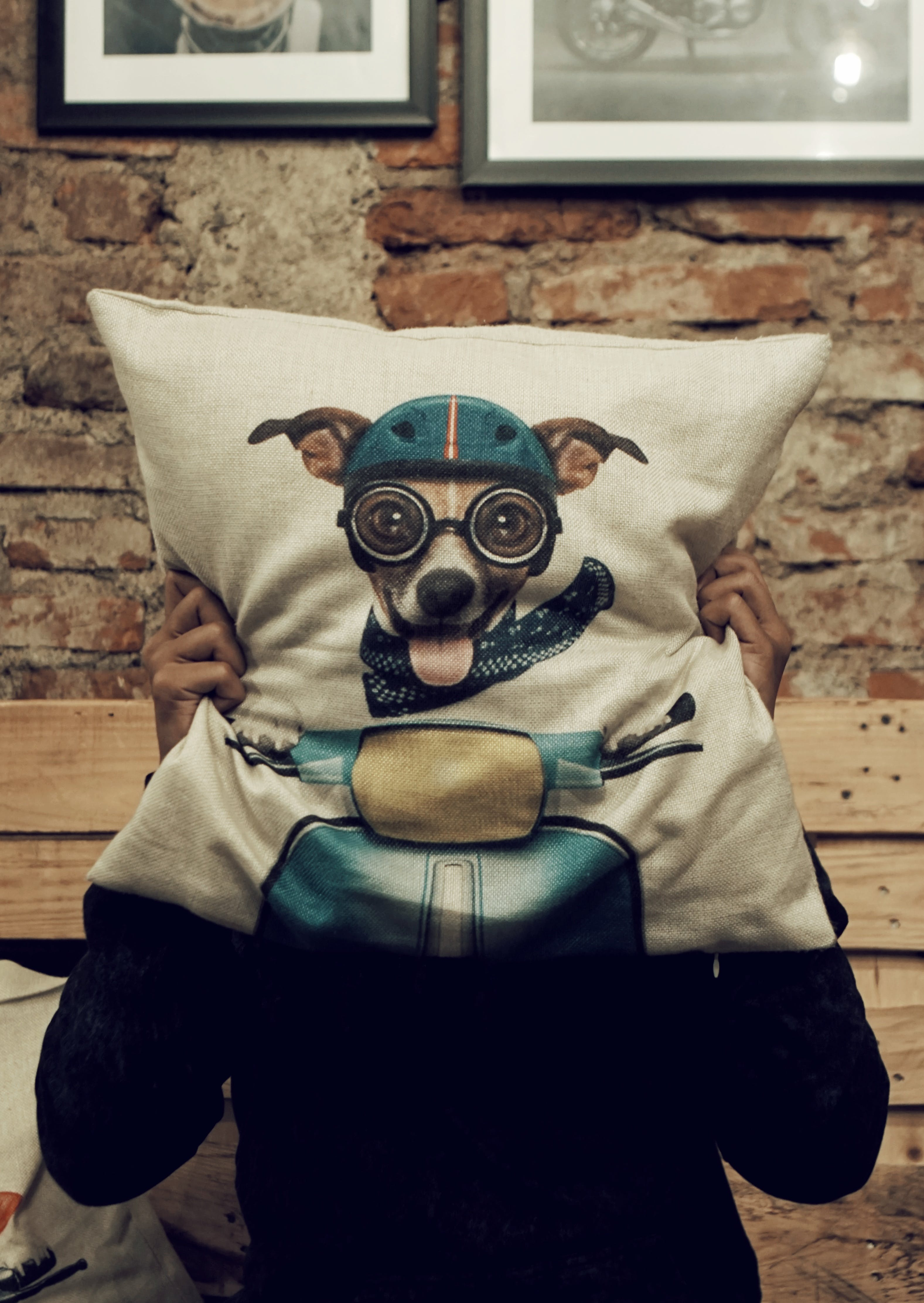 Person Holding Dog Driving Scooter-graphic Throw Pillow