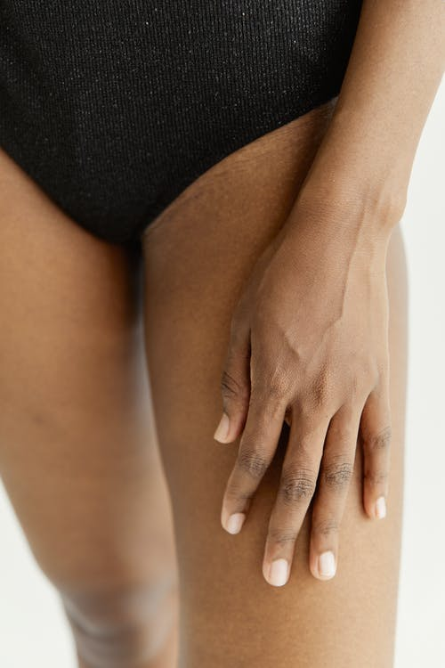 Woman in Black Panty With White Background