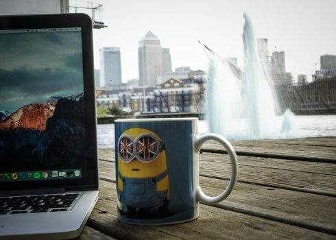 Free stock photo of city, coffee, skyline, laptop