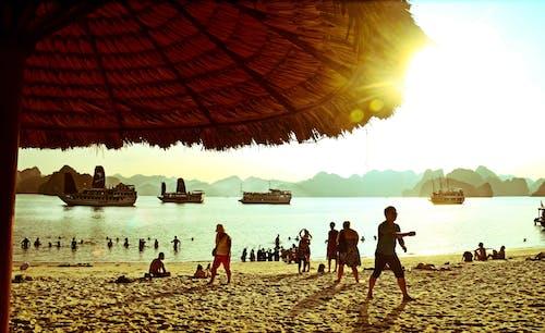 gün batımı, halong koyu, HD duvar kağıdı, plaj içeren Ücretsiz stok fotoğraf