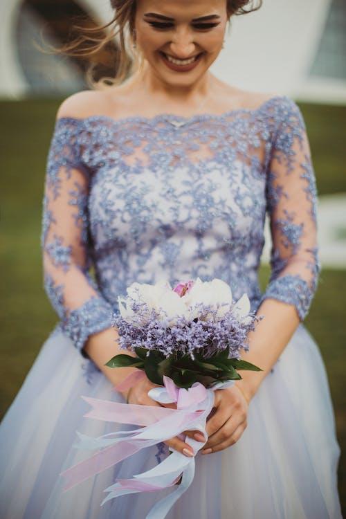Shallow Focus On Purple Floral Off Shoulder Long Sleeved