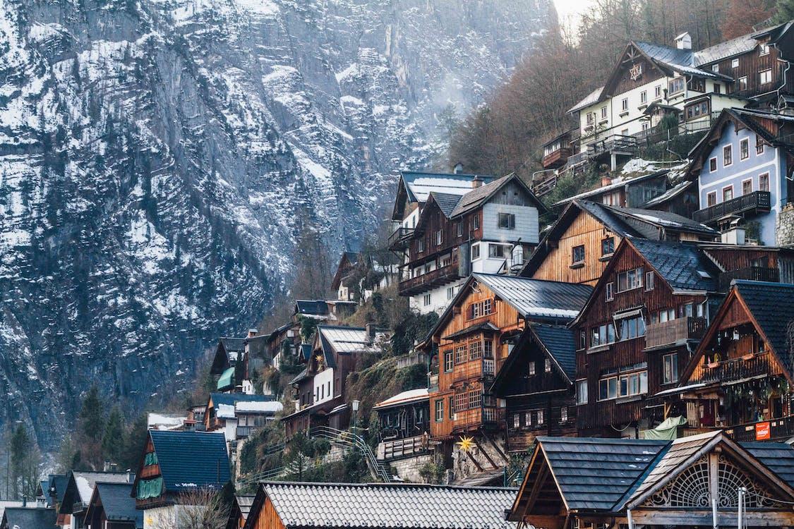 arkitektur, bjerge, by