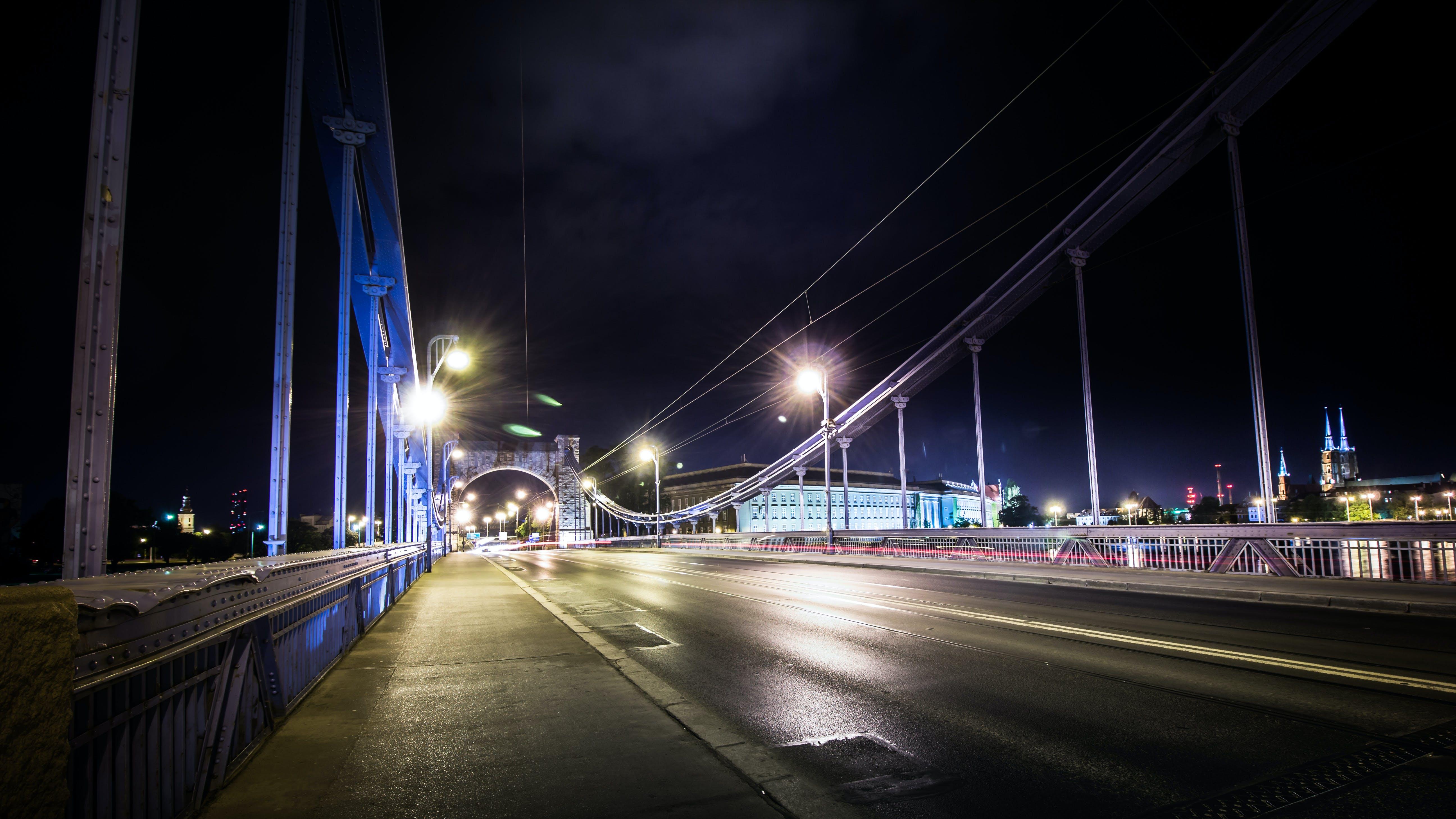 Free stock photo of night, bridge, wroclaw, odra