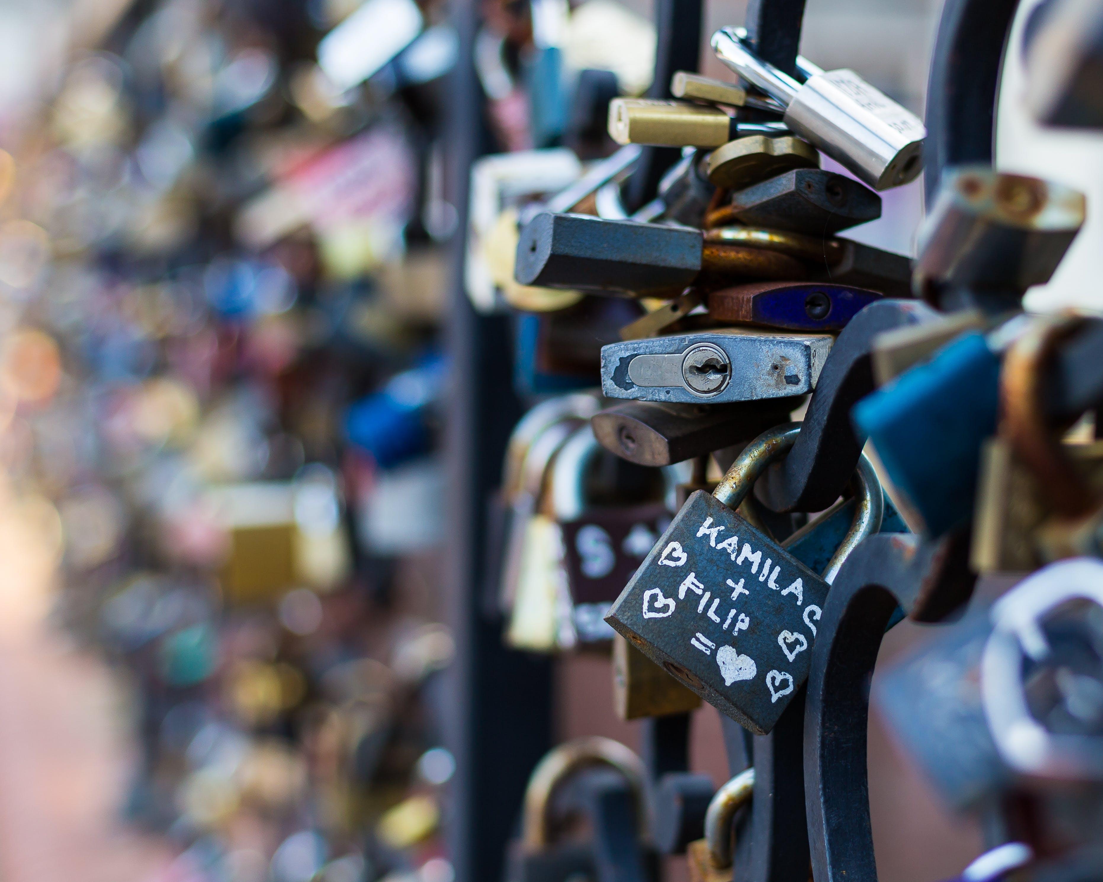 blurred background, brass, locks