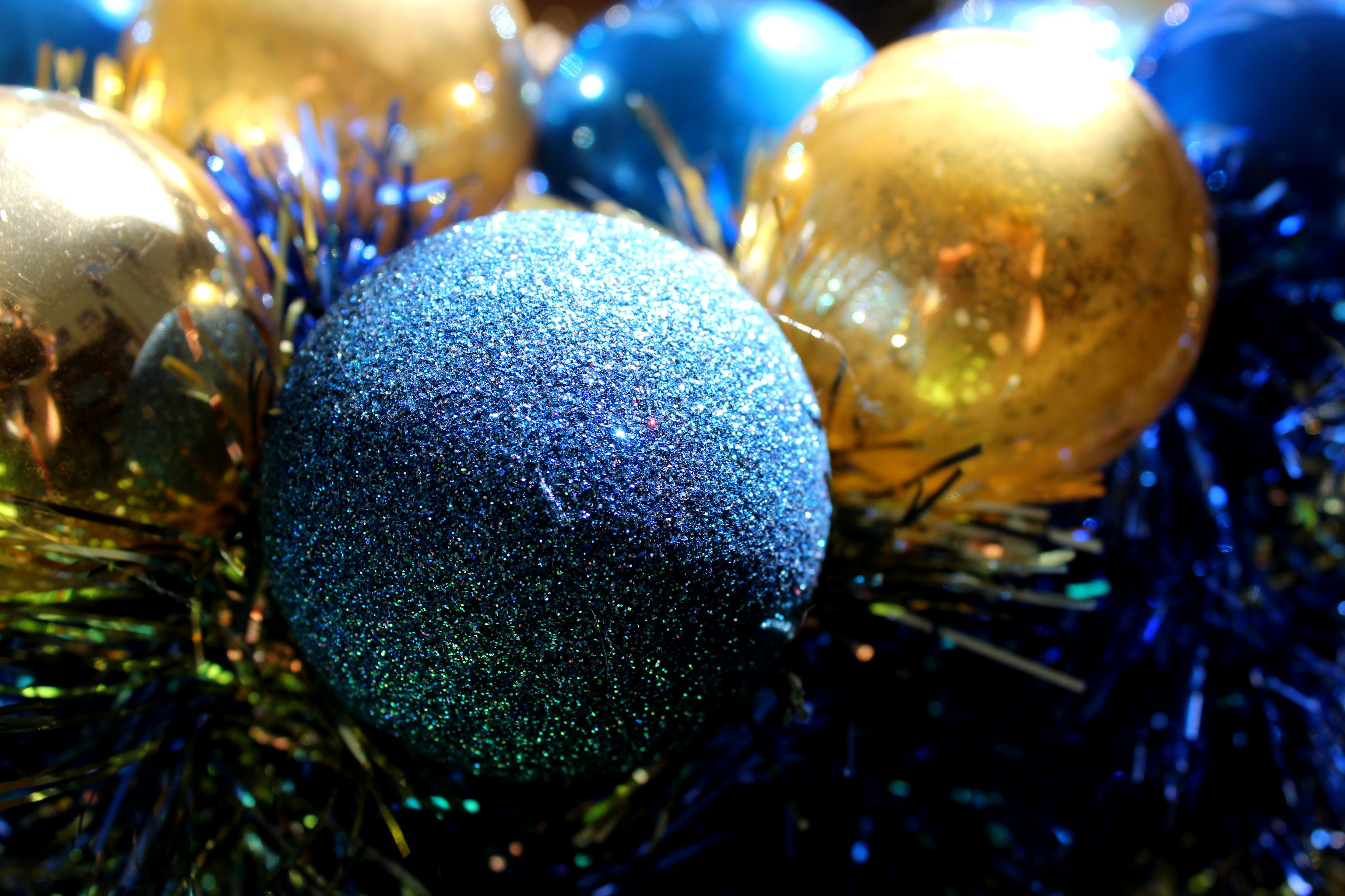 Gray, Blue, and Gold-colored Baubles