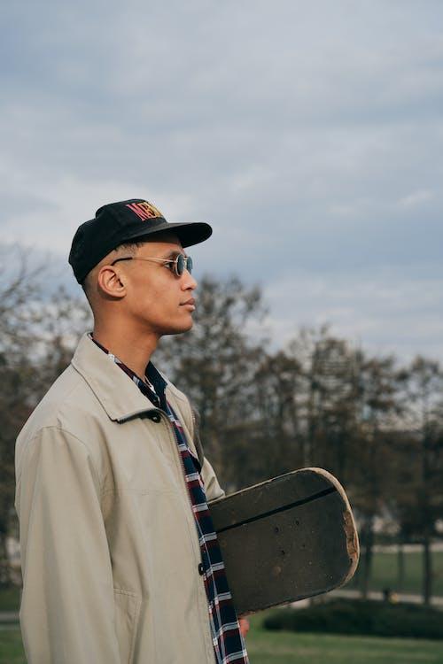 Free stock photo of baseball cap, glasses, hipster