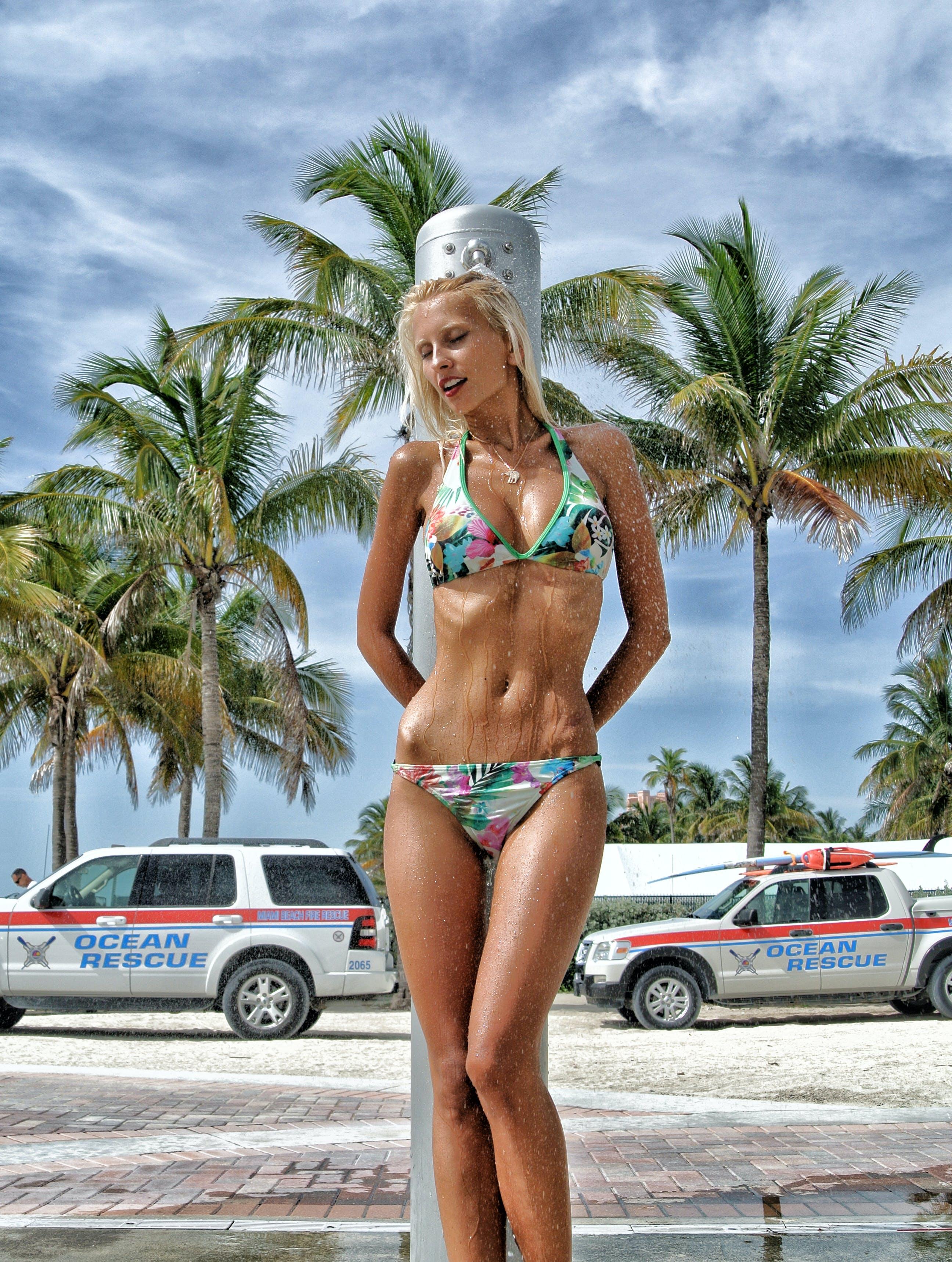 Woman In Floral Bikini