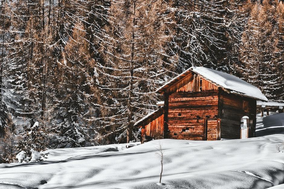 Brown Wooden Cabin In Snowy Landscape Near Forest