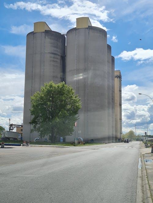 Free stock photo of food storage, maritime, silo