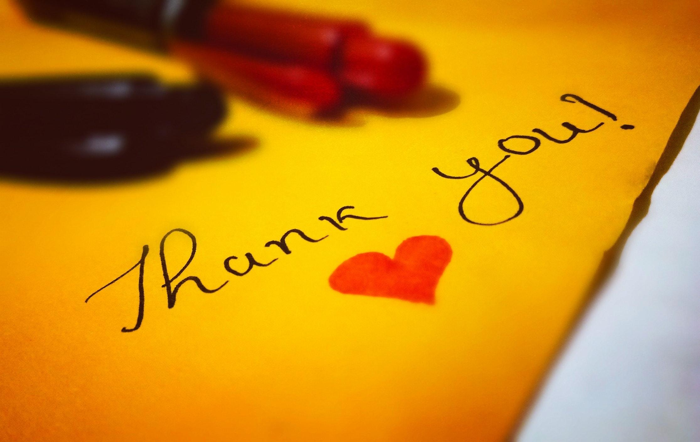 Thank You Heart Text Free Stock Photo