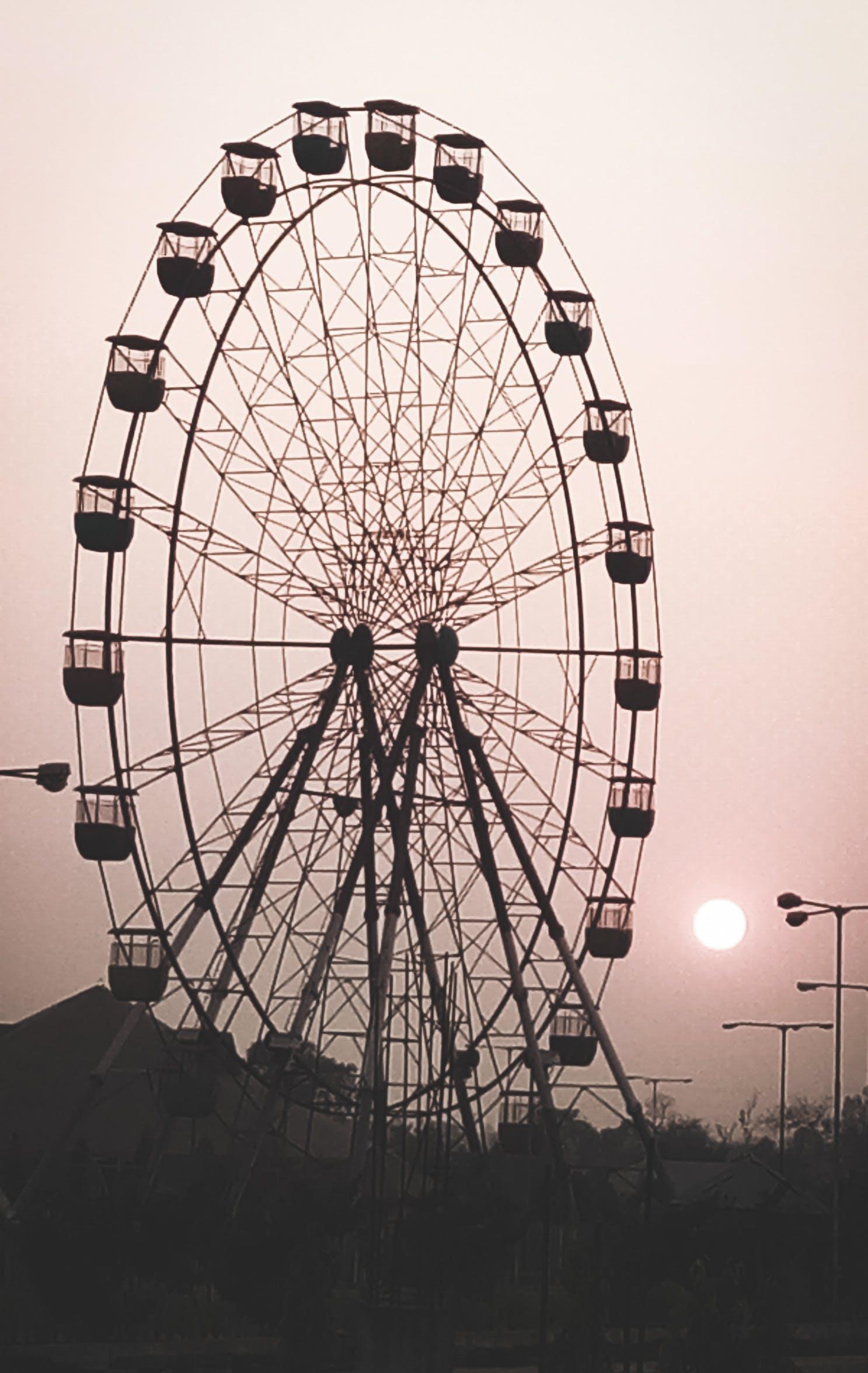 Free stock photo of #gaintwheel #sunset #