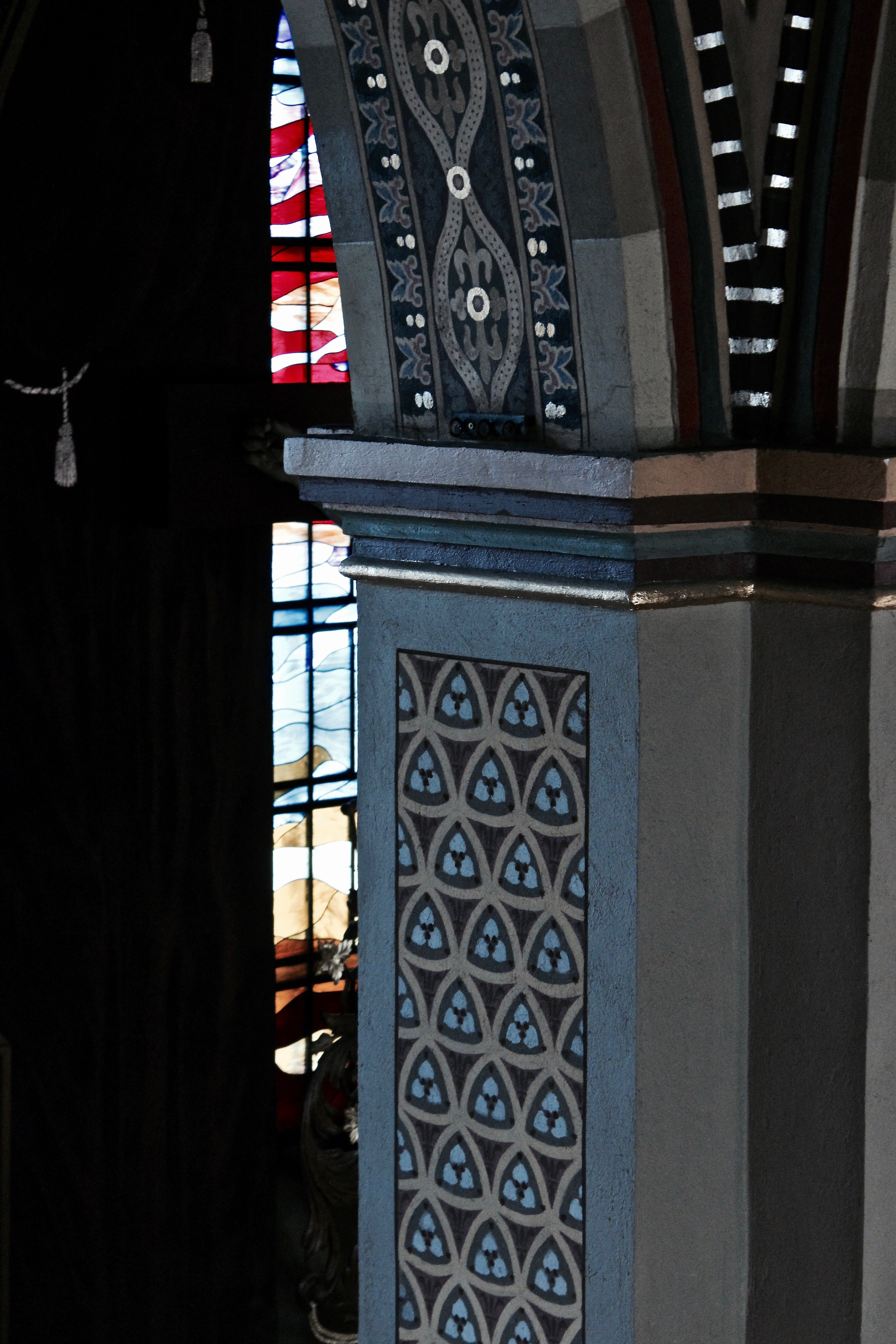 Free stock photo of pillar, stained glass, stone