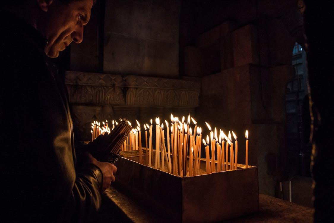 candles, church, dark