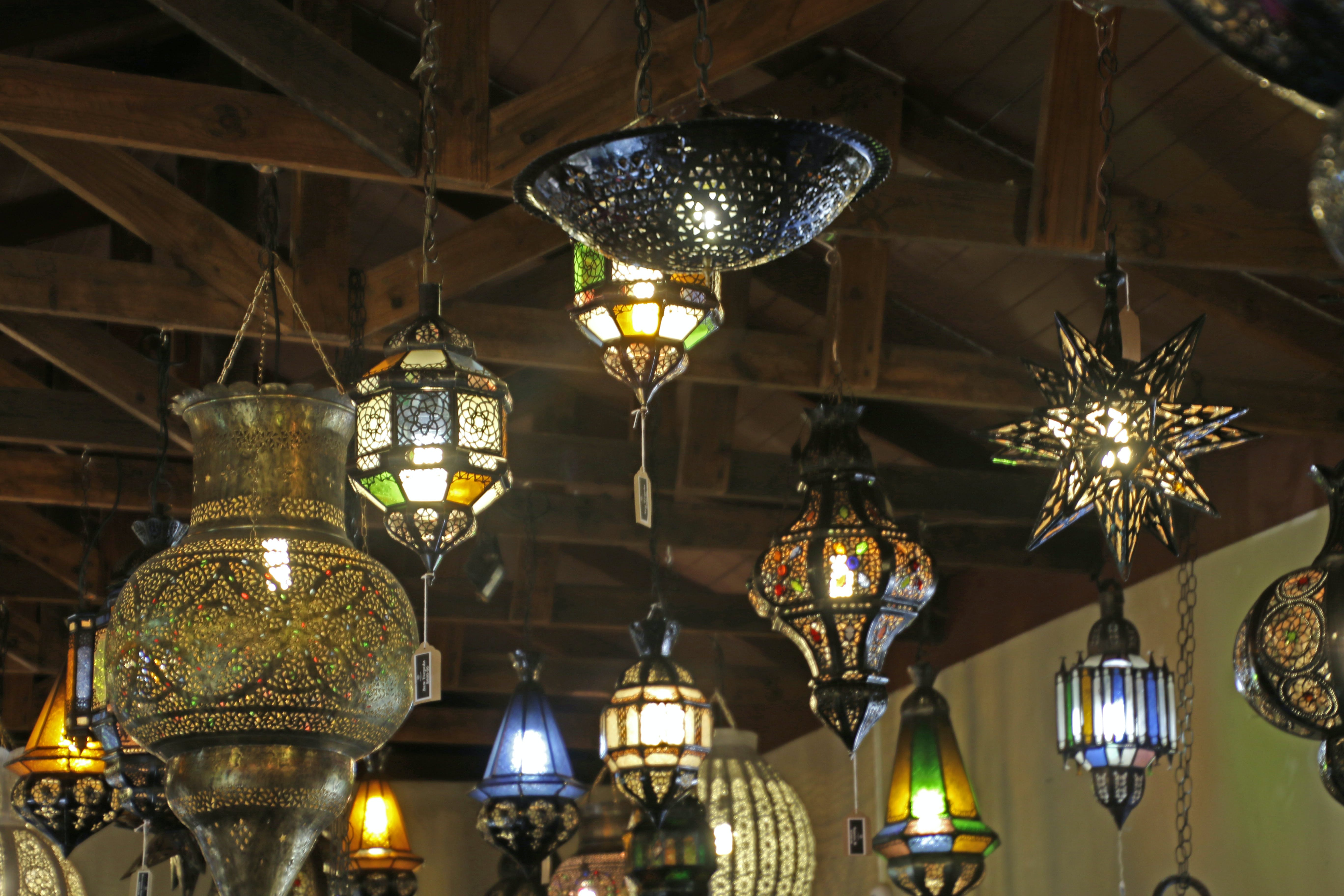 Free stock photo of lights, lanterns, african, chandeliers