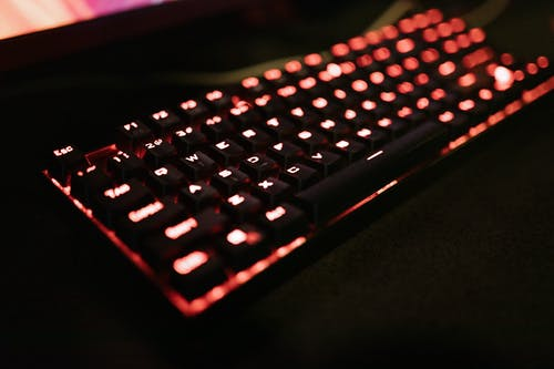 Close-Up View of a Mechanical Keyboard
