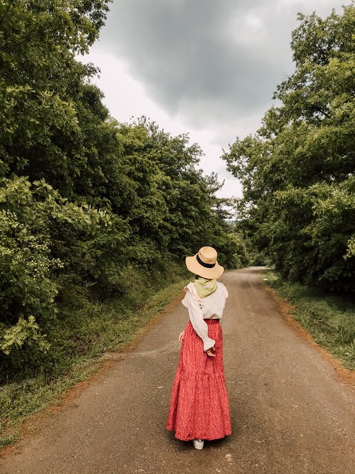 Back view full body of anonymous female in long skirt and hat walking in forest on walkway under cloudy sky