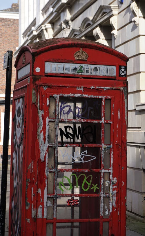 Free stock photo of deansgate, english telephone box, graffiti