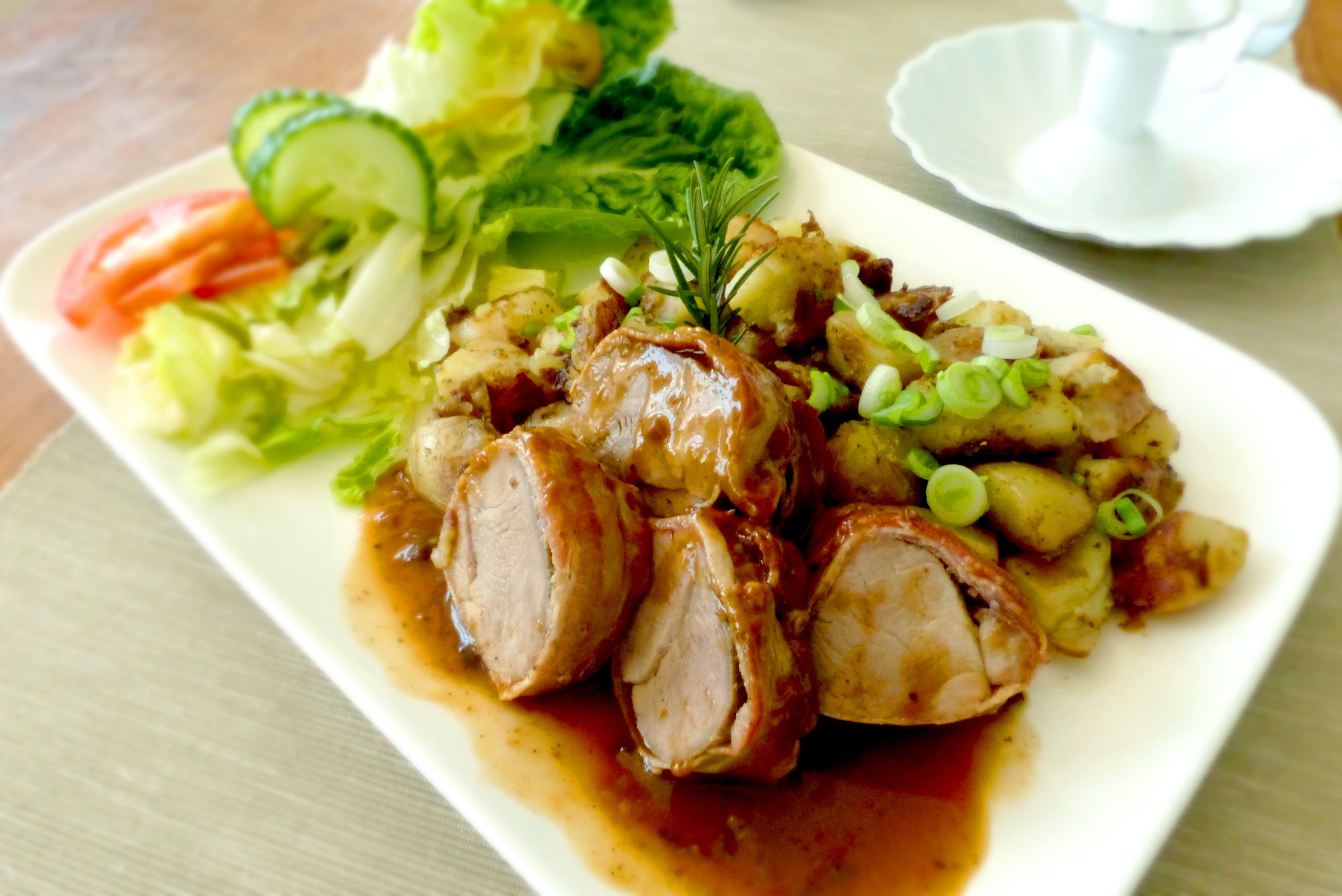 almuerzo, carne, cena
