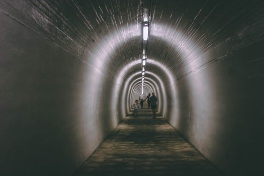 Free stock photo of light, people, tunnel, concrete