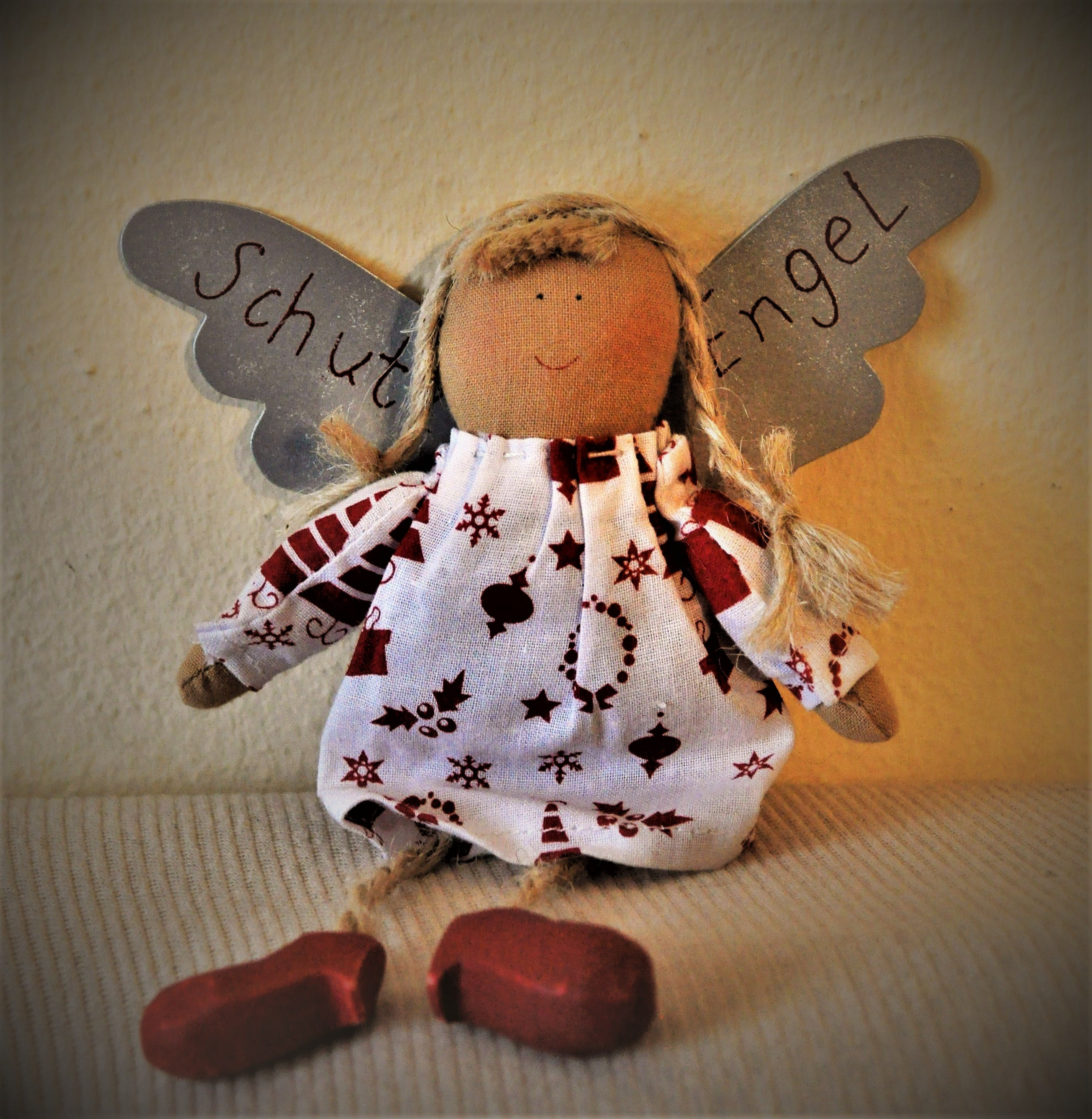 Brown and White Angel Doll