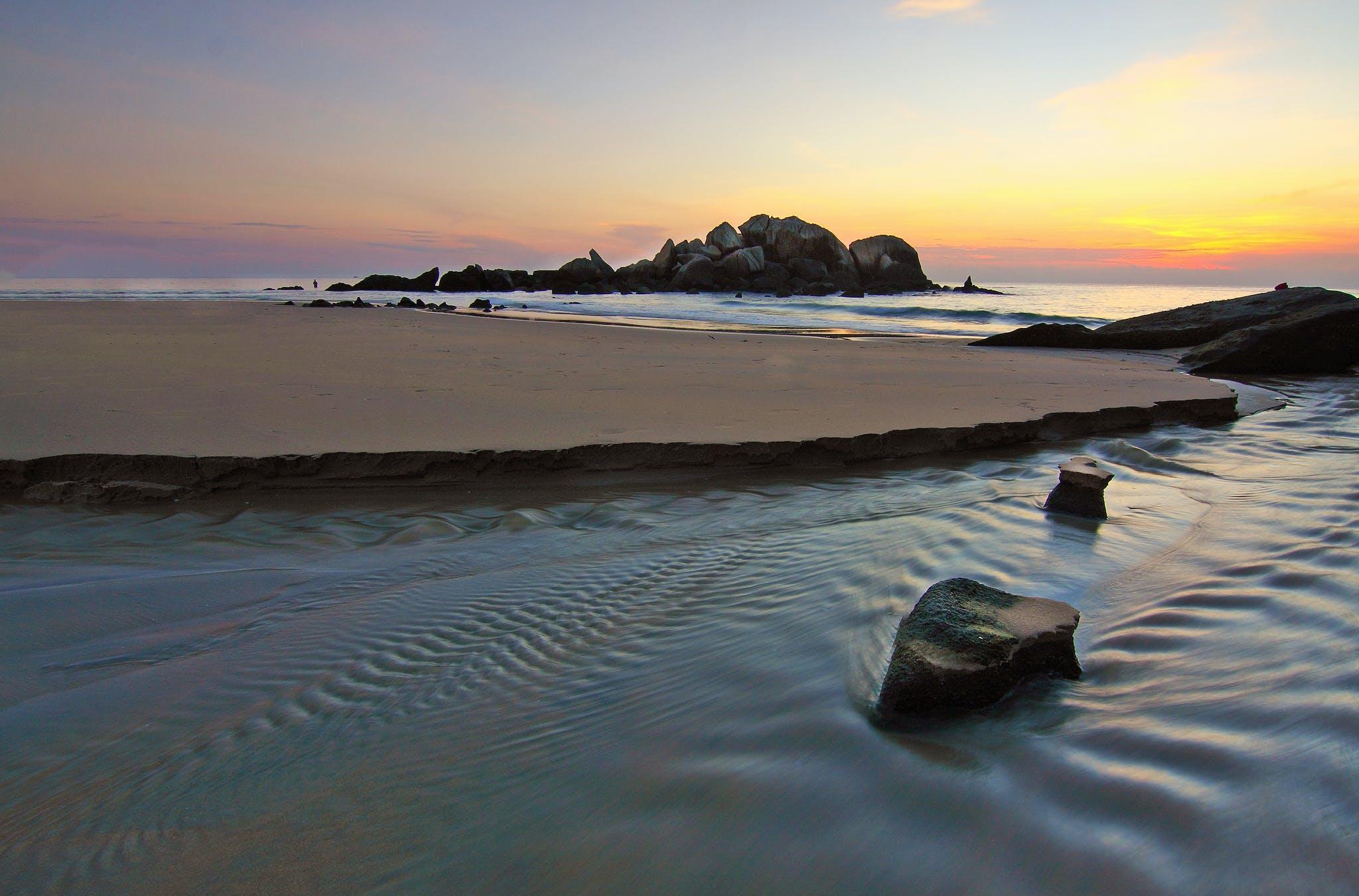 경치가 좋은, 돌, 모래, 목가적인의 무료 스톡 사진