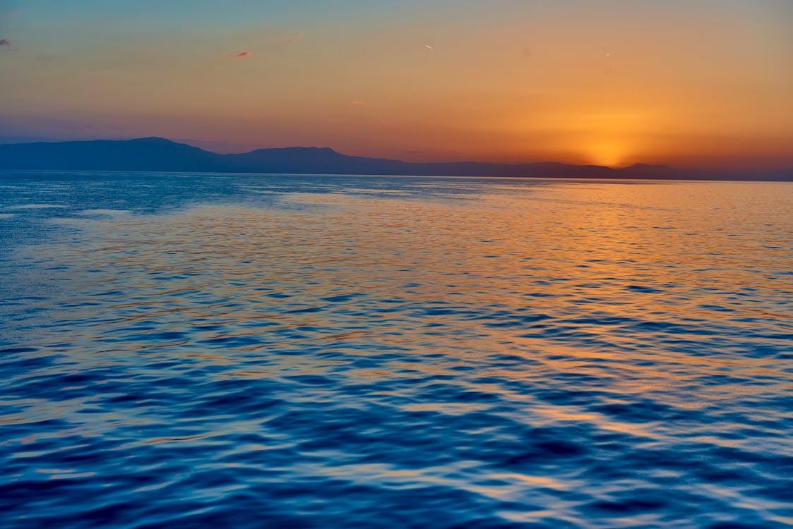 oceán, stredozemnom, východ slnka