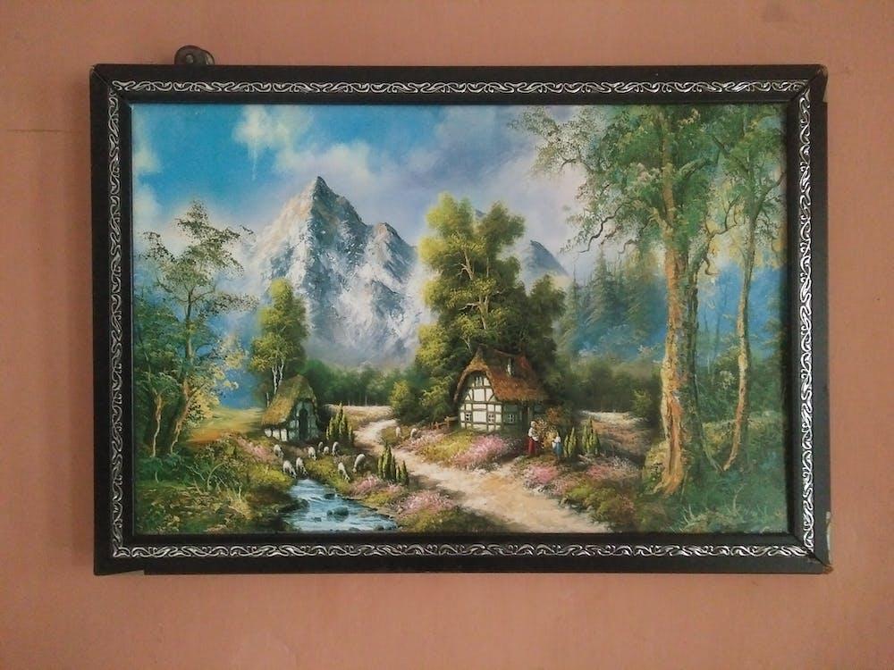 boya, çerçeve, duvar içeren Ücretsiz stok fotoğraf
