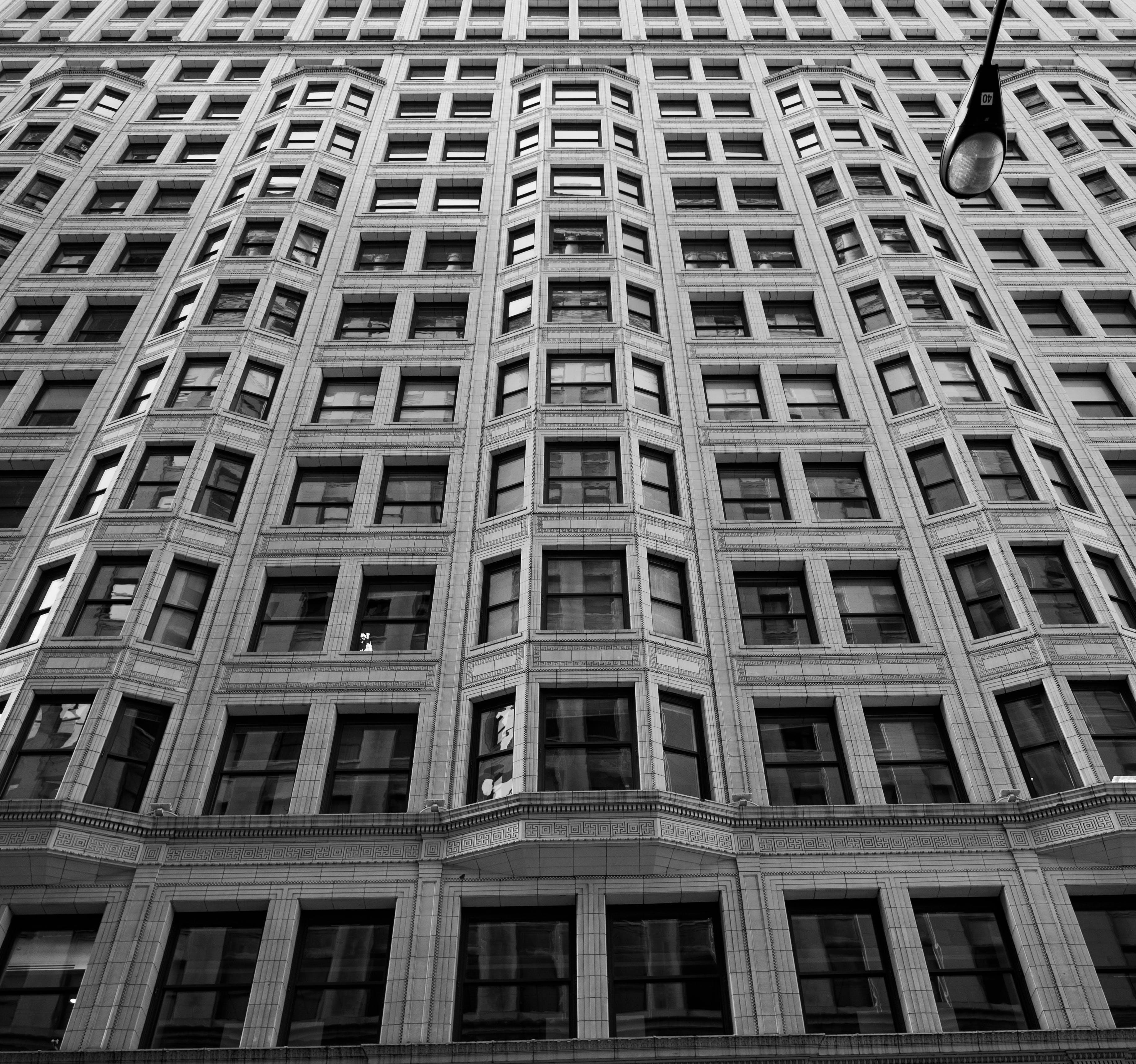 Free stock photo of building, windows, brick, black and white