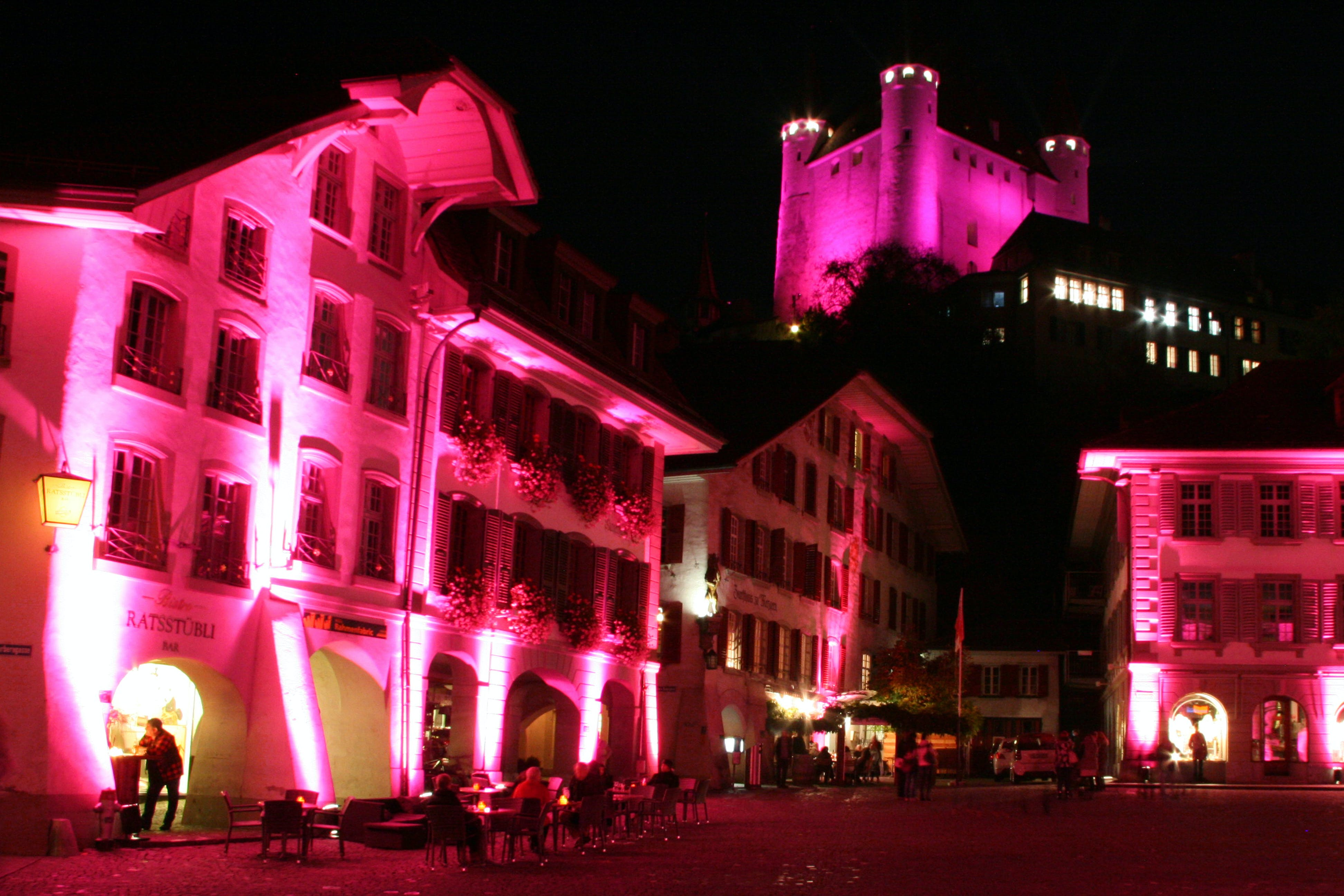Free stock photo of night, colours, pink, swiss