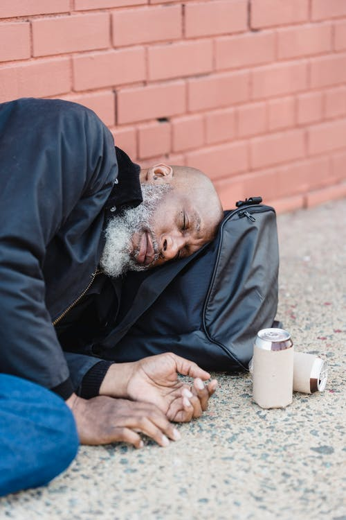 Drunk Elderly Man Lying Down the Street