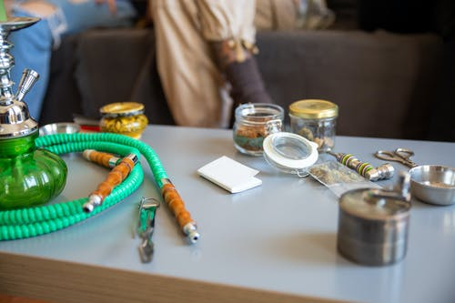 Hookah and Cannabis on Table