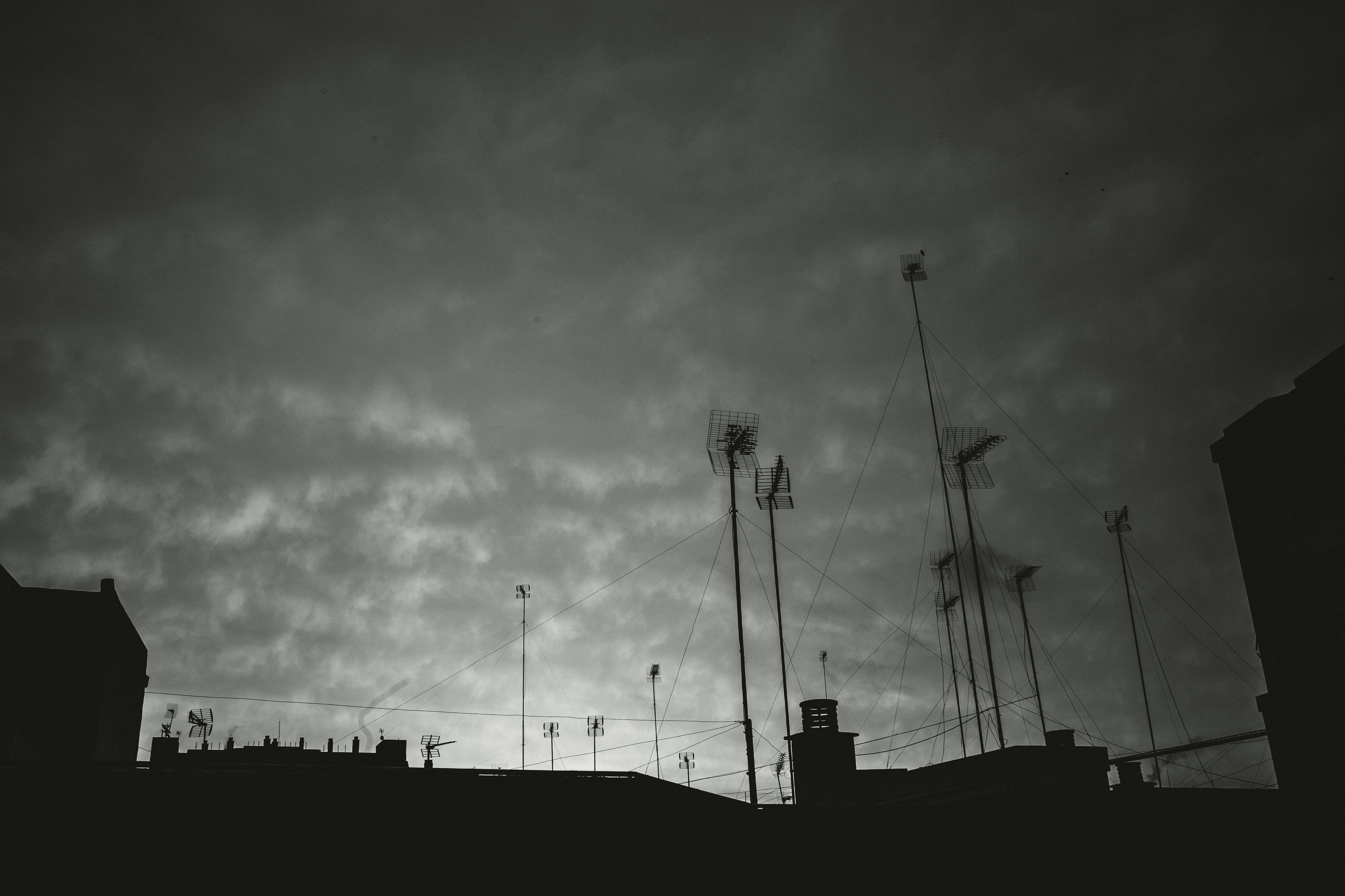 Free stock photo of sky, clouds, black and white