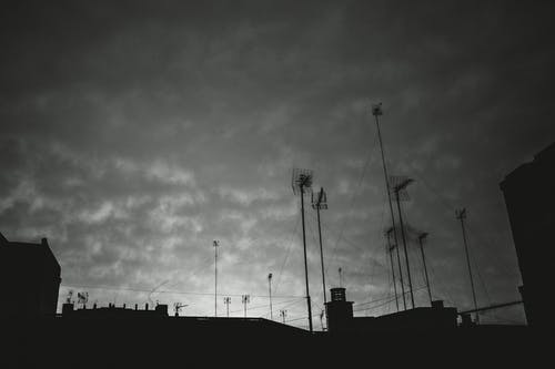 Free stock photo of black and white, clouds, sky