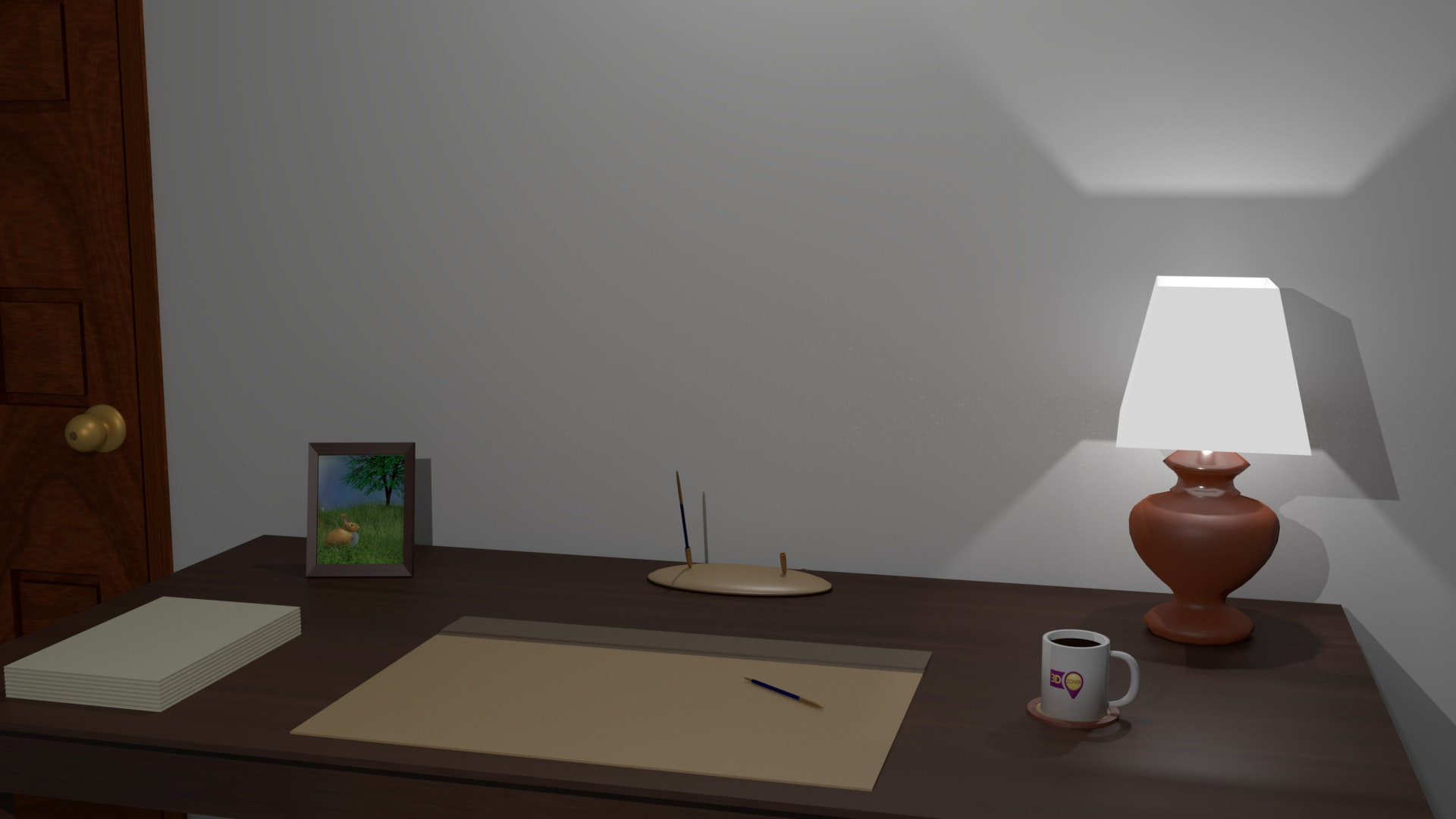 Free stock photo of 3d, desk lamp, home office