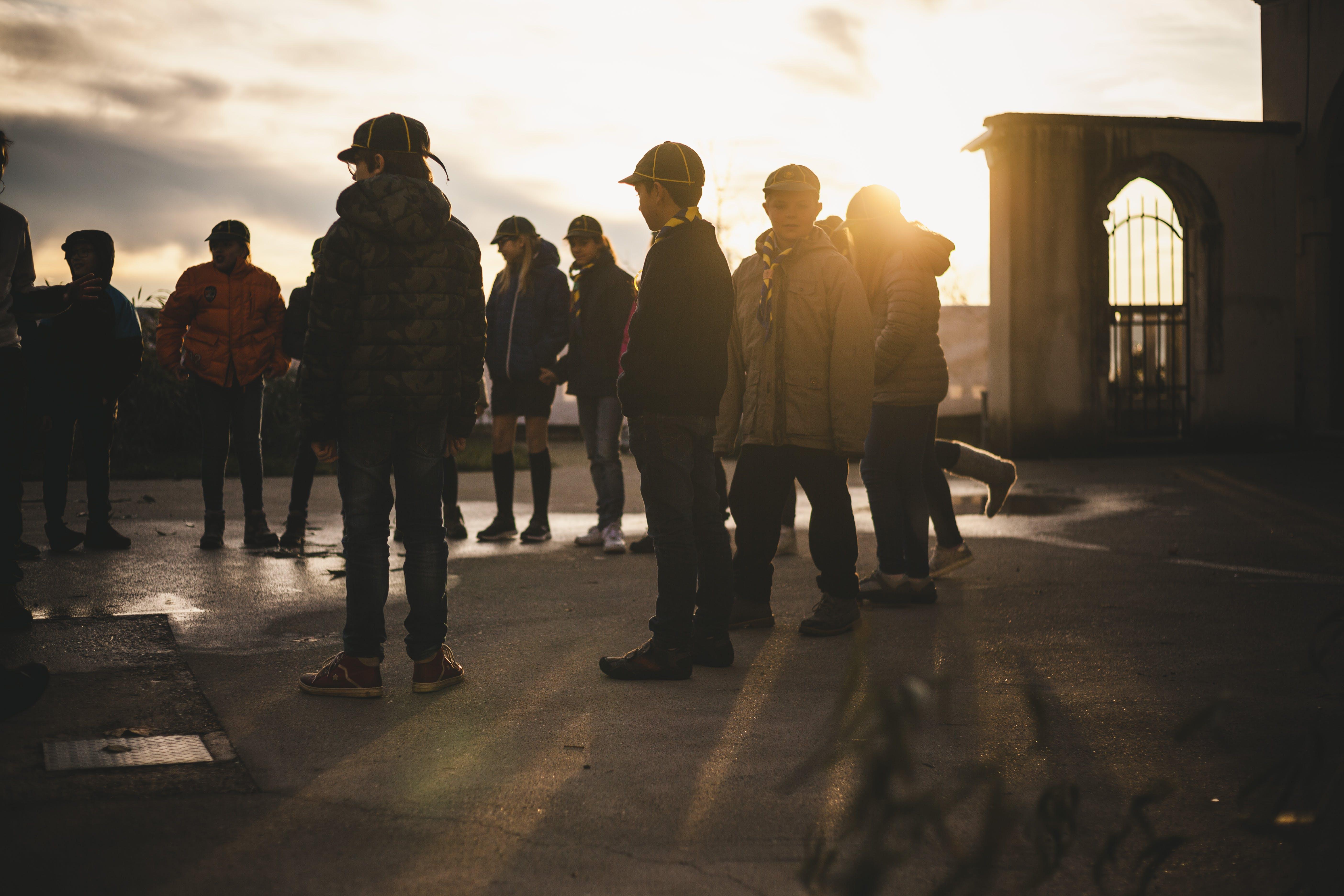 Children's Gathering on a Bridge