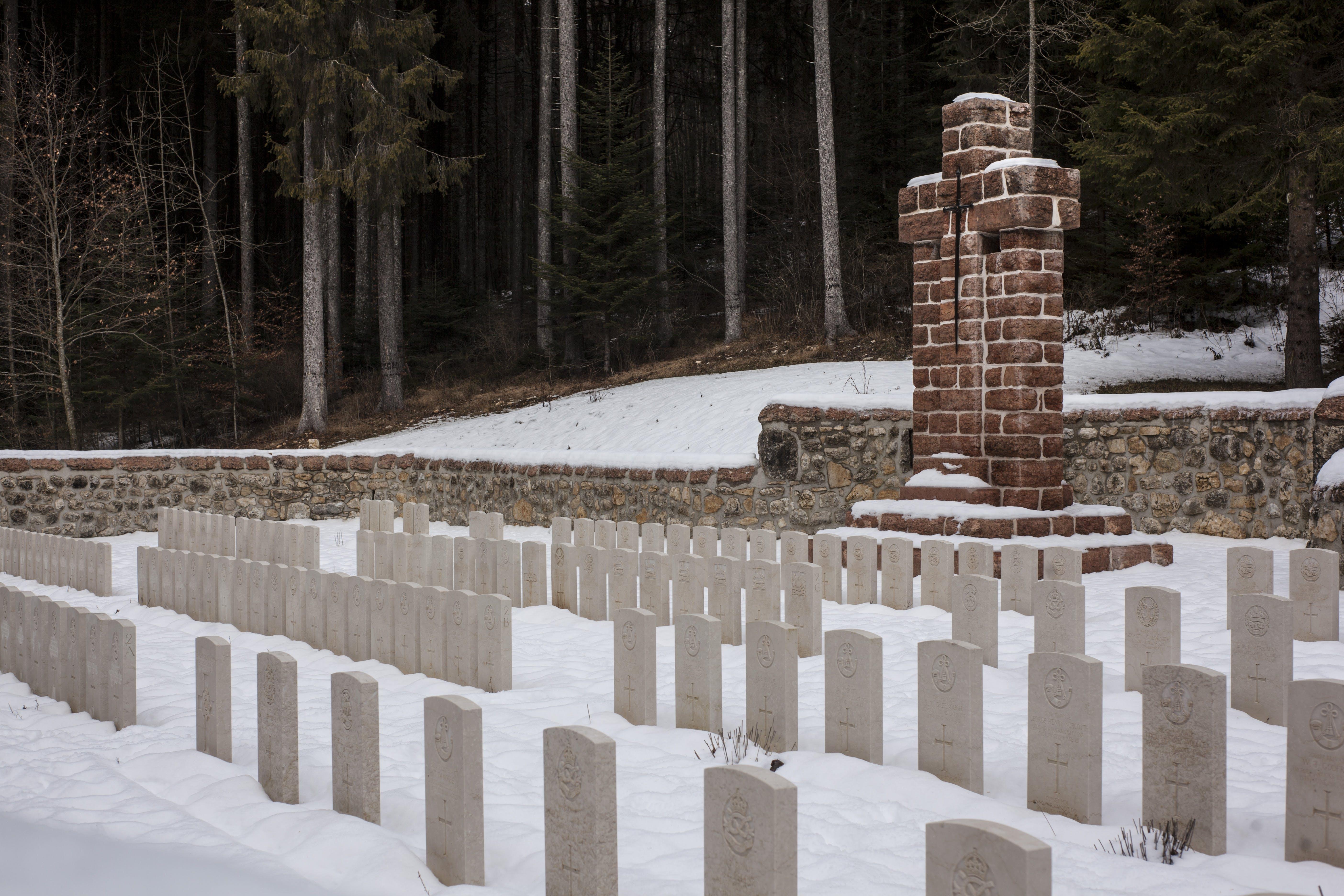 Pile of White Concrete Cemetery Photo
