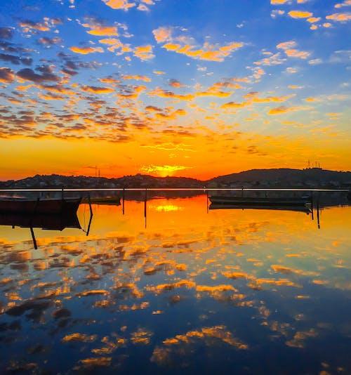 Free stock photo of barco, blue, espelho, morning sun