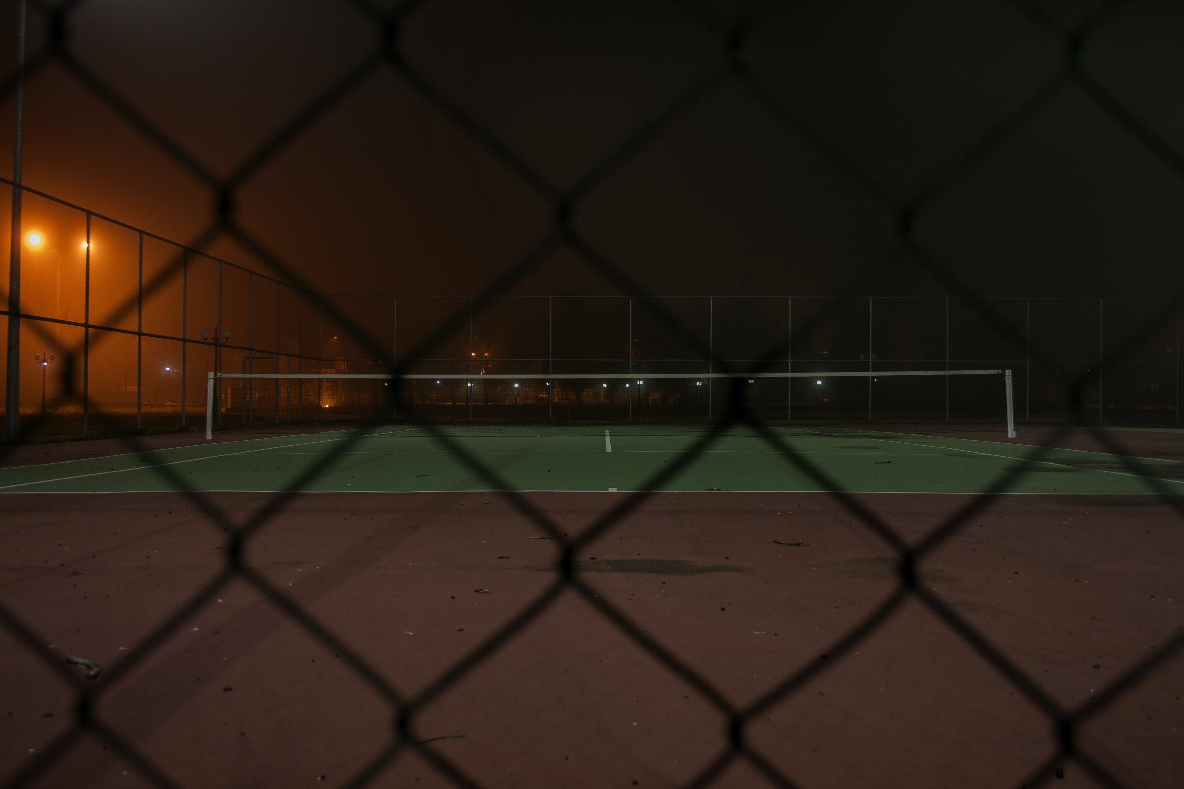 Quite Tennis Field during Nighttime