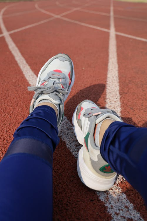 Free stock photo of adidas, pair of shoes, race track