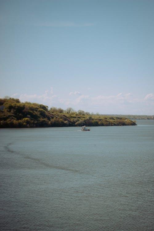 River near grassy shore in nature