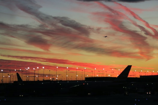 Free stock photo of sunset, red, airport