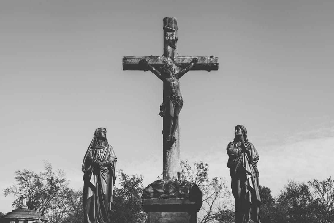 black and-white, cemetery, jesus