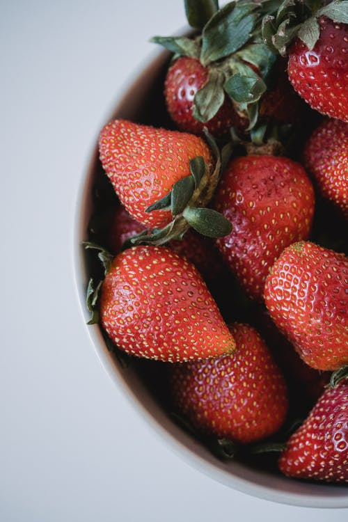 Red Strawberries with Green Leaves